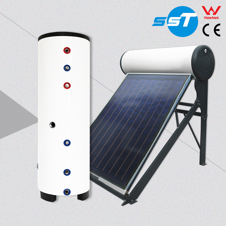 Solar water system storage tank with double coil