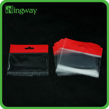 opp plastic card bags with hanging header for packaging with self adhesive
