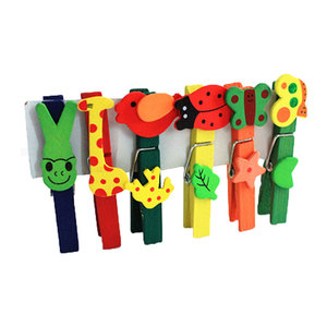Mini Colorful Wooden Craft Clips Photo Paper Peg