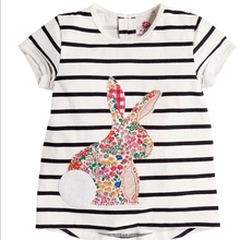 MS69134C cute Bunny printing summer baby girls tshirts country girl clothing