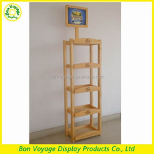multi tier wooden painting floor supermarket drink bottle display stand with logo printing
