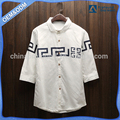 Custom button up printed logo white blouse women new design stylish 3/4 sleeve shirts