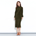 Latest design long sleeve corduroy high-necked long dress