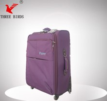 360 wheel purple luggage / cheap trolley luggage/nylon fabric travel luggage
