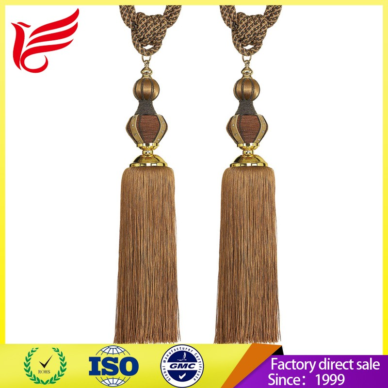modern colored long metal curtain tassel tiebacks