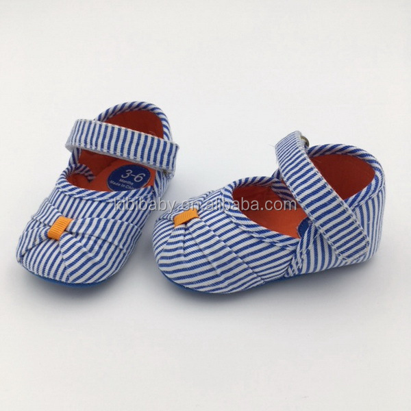 Custom design top selling good quality blue white cotton stripe cute bow pretty baby girl