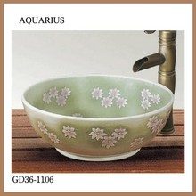 porcelain popular art basin chinese peony design small bathroom sinks