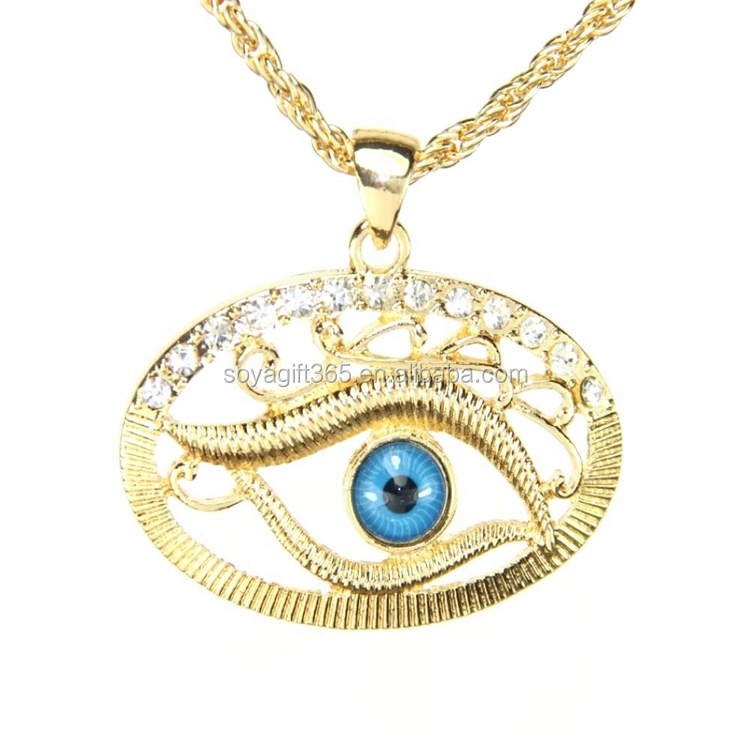 Women Gold Chain Necklaces Pendants Evil Eye Blue Eye Turkey Jewelry Wholesales