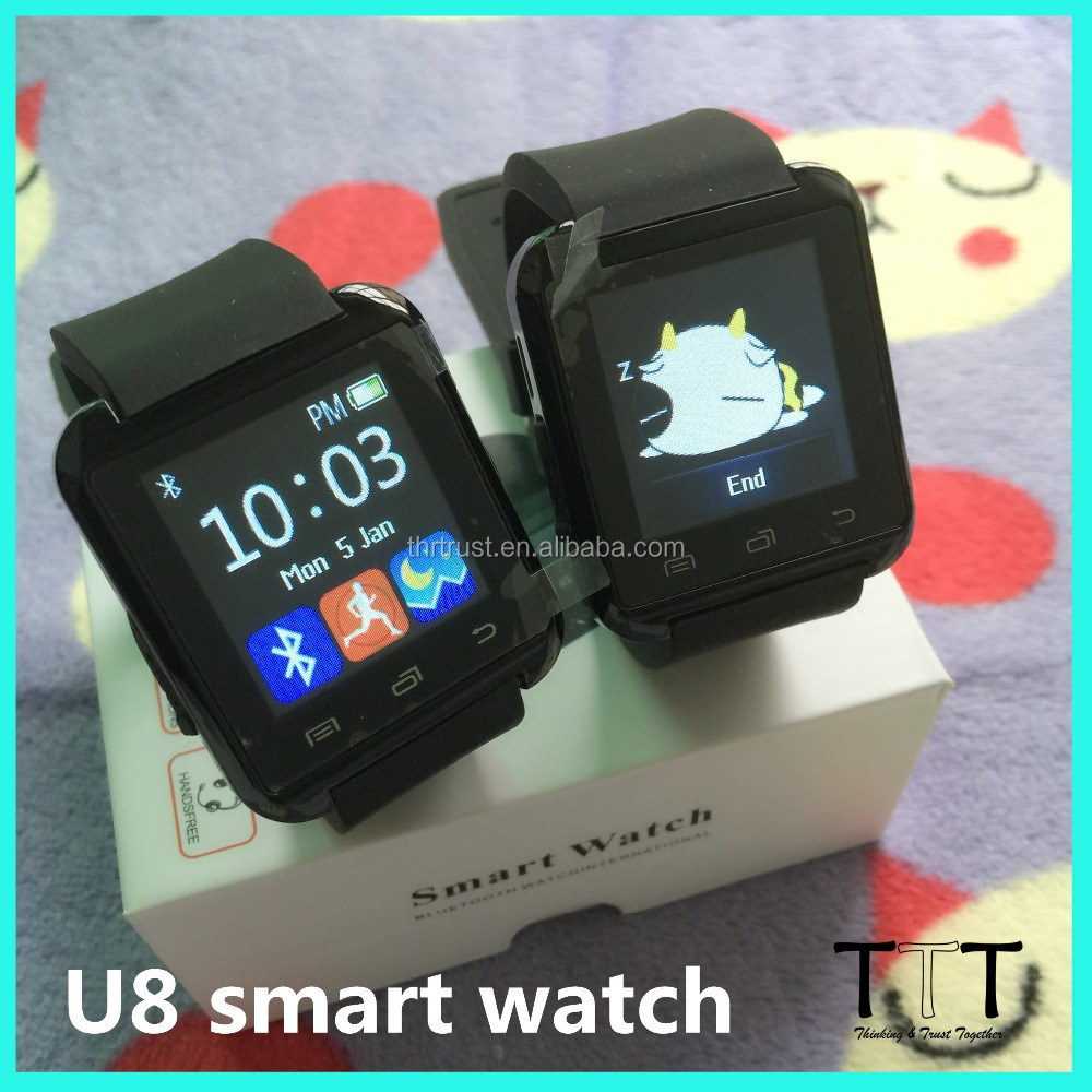 Cheapest Manufacturer bluetooth 4.0 GPS U8 android smart watch phone with whatsapp skype