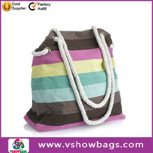 stripe canvas tote bag with cotton handle