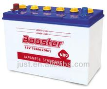 12V Japan Dry Lead Small Car Battery N80 80Ah Without Acid