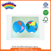 Montessori materials Wood Educational Toys World Puzzle Map ,geography