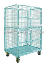 Industrial Folding Metal Storage Wire Mesh Hand Trolley Cart With Wheels