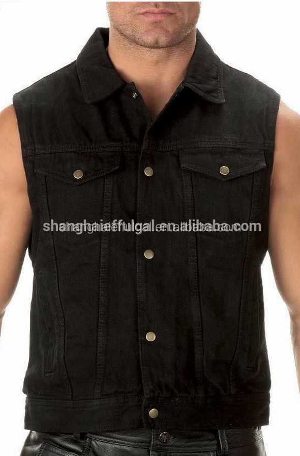 black denim vest Adults wear-resisting black denim vest outer wear wearproof jean vest men