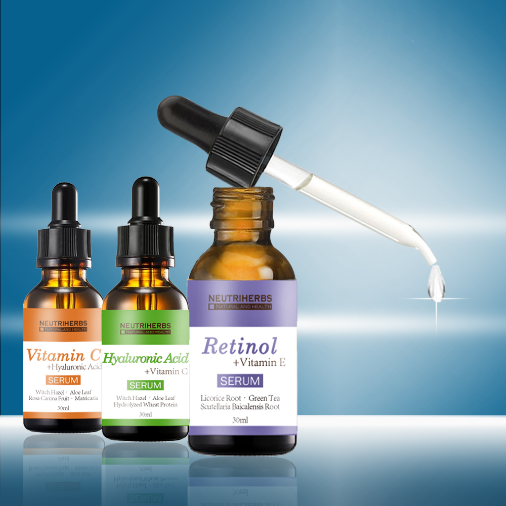 Cosmetics Beauty safe and reliable skin lightening vitamin c + hyaluronic acid + retinol serum set private label wholesale
