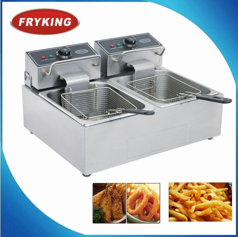French Fries & Chicken Electric Fryer With Dual 2 Tanks
