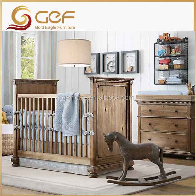 Luxury baby furniture wooden crib convertible baby cot bed GEF-BB-79