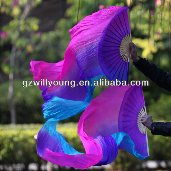 Fuschia/Purple/Turquoise in Vertical, Belly Dance 100% Real Chinese Silk Fan Veils, 1.8M, Silk Veils