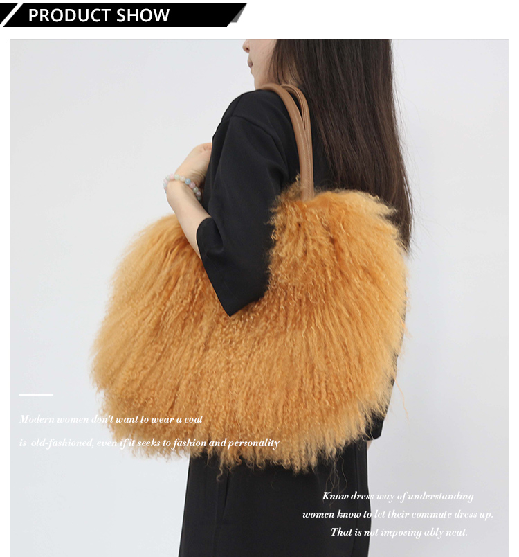 2019 warm thick fur shoulder bag fashion rabbit fur leather handbags