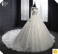 Alibaba Suzhou Factory Ball Gown Dresses Long Sleeve Muslim Wedding Dresses White Robe De Mariage