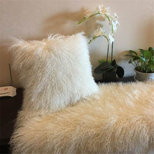 long haired Real Mongolian Curly sheep fur throw blanket