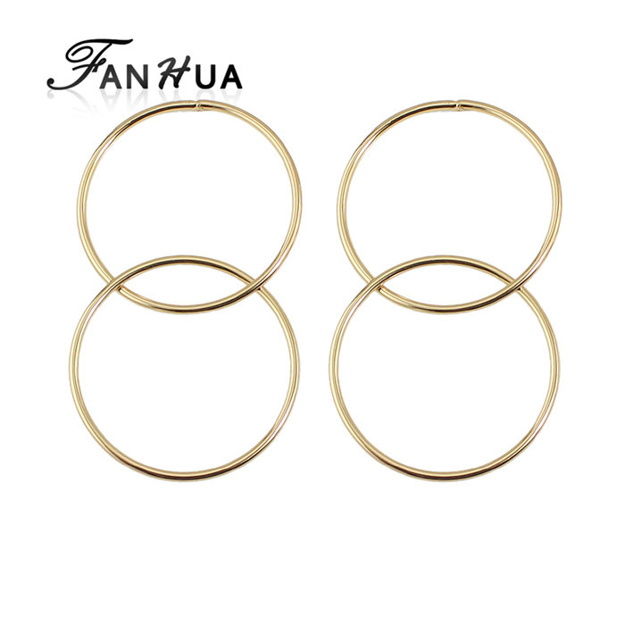 Free Shipping Punk Design Gold Color Circle Shape Hanging Stud Earrings