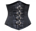 Black-White Pinstripe With faux Leather Authentic Steel Boned Underbust Corset