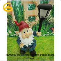Large size resin garden gnomes light solar for decoration