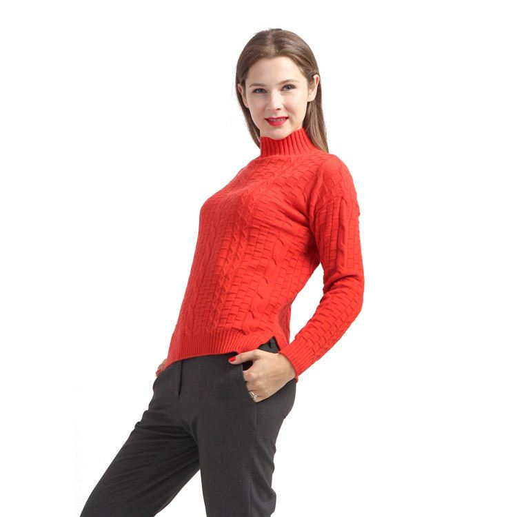 Women's fashion solid color wool sweater,100% pure women cashmere red high neck sweater