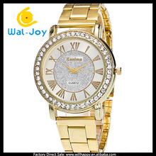 2014 new vogue smart popular gold metal ladies watch(WJ-1583)