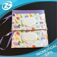Promotional Eco Friendly Reusable CMYK UV Printed Zip Top Travel Plastic EVA Baby Tissue Wet Wipes Bag with Lid