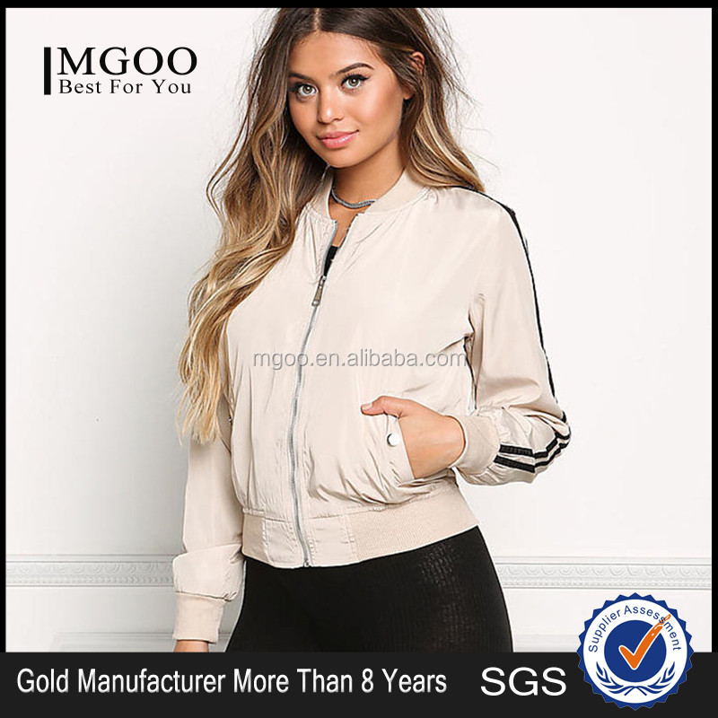 MGOO Latest Design Khaki Bomber Jackets Tops Girl 2017 Winter Zip Up Silver Coat Long Sleeves Jackets