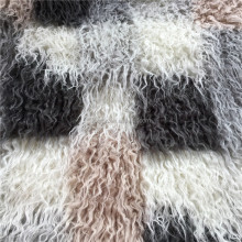 Colorful Jacquard Long Pile Hair Mongolian Fake Fur Curly Modacrylic Faux Fur Fabric