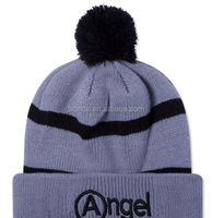 Pom pom knitted long beanie hat,cheap beanie hats