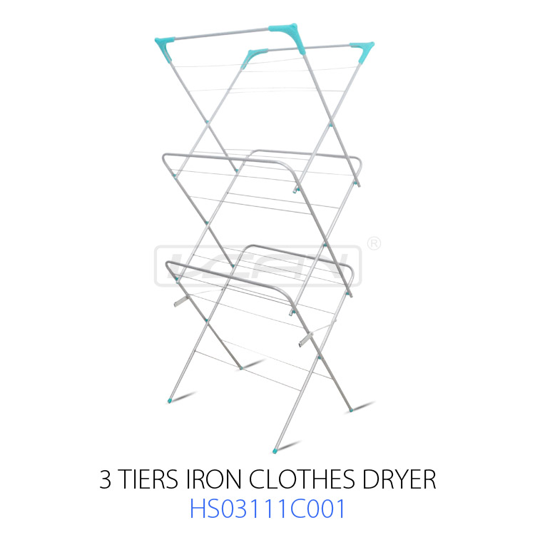 3 Tiers Foldable Clothes Drying Rack Iron Stand Airer