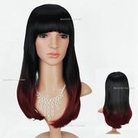 Beauties Factory Synthetic Ombre Long Straight Cosplay Brown Full Hair Wig 1909T