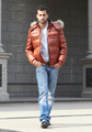 europe fashion style leather faric waterproof down jacket for mens