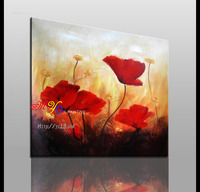 Original oil paintings with oil or acrylic for home decor-The red flower -canvas oil painting