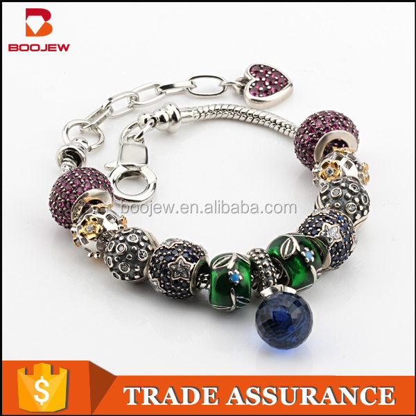 Wholesale fashion jewelry bracelet Thai silver accessories, silver oxide hand bead, 925 silver accessories glass bead bracelet
