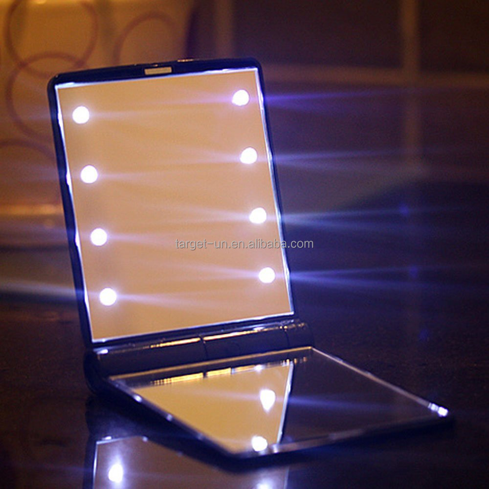 8leds compact makeup mirror foldable pocket mirror