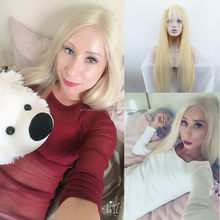 Lace Front Wig Light blond full lace wig Silky Straight ponytail Malaysian Human Hair Lace Wig 130% Hair Density
