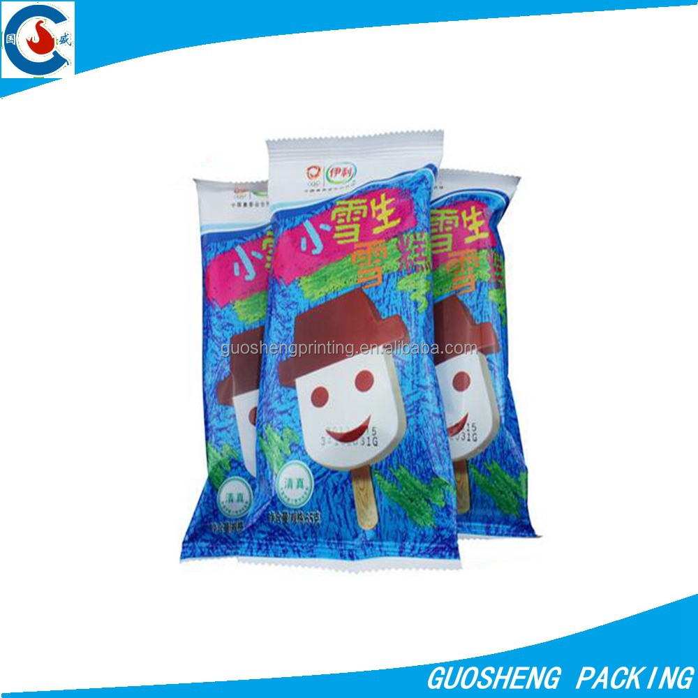 Ice lolly plastic packaging/ frozen ice cream bar plastic wrapping film