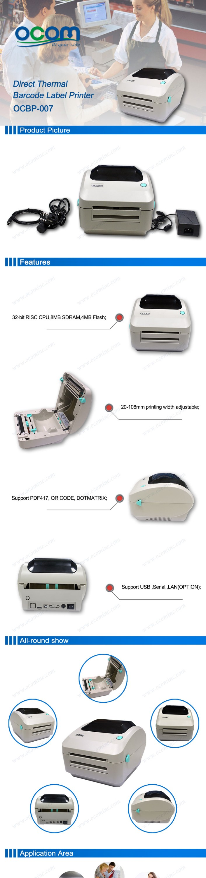 OCBP-007: cheap price 4 inch thermal barcode sticker printer dealers similar with godex or argox
