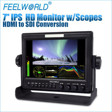 "Feelworld 7"" Aluminum frame 1280x800 hd-sdi cctv test monitor with Check field image freeze and HDMI converted to SDI output"