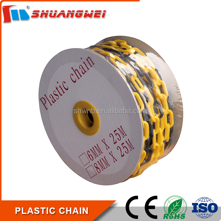 8mm yellow and black safety barrier Plastic Chain for traffic cones