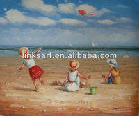 Beach children oil painting suitable for children bedroom