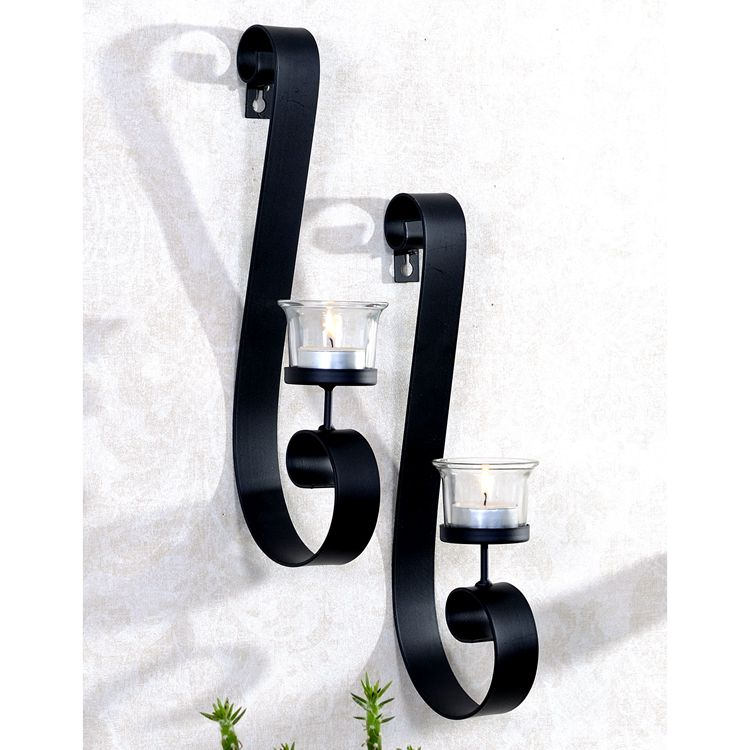 home decoration wall mounted metal candle holder with glass cup, set of 2