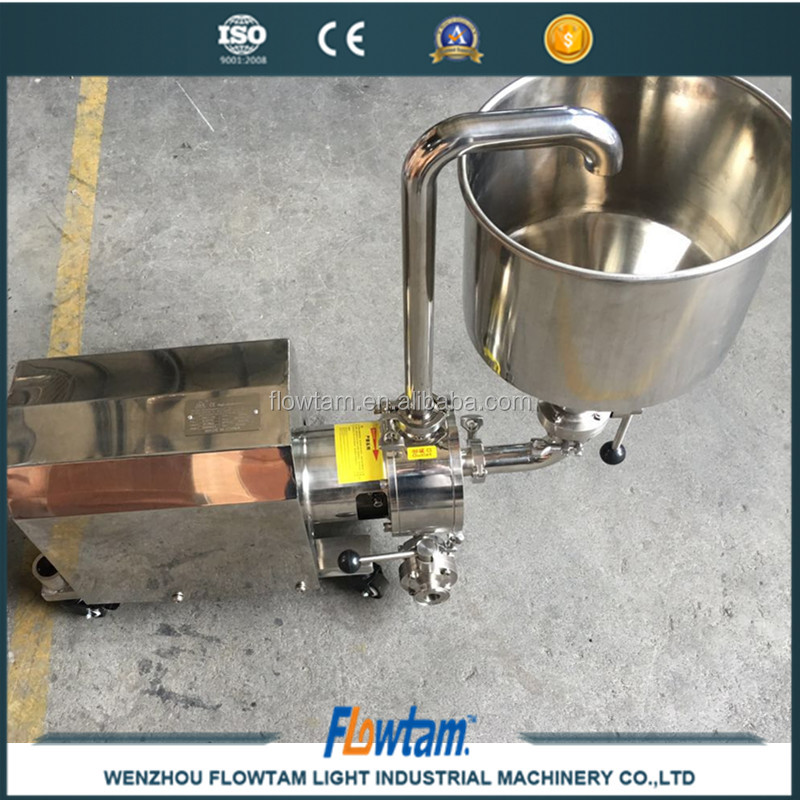 Inline high speed shear homogenizing mixer with hopper/funnel