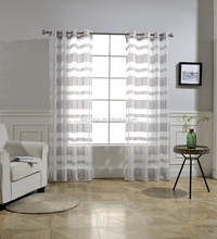 jacquard horizontal stripe organza sheer curtain for living room