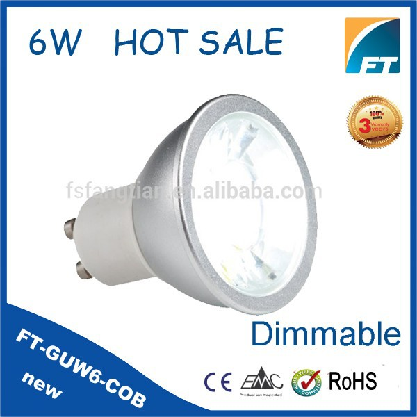 Alibaba Italia 6W 2700K COB GU10 LED Dimmable Led Spot Light